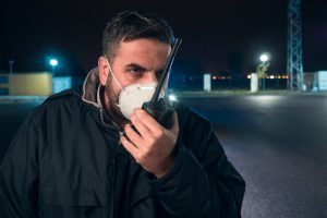 security guard with mask