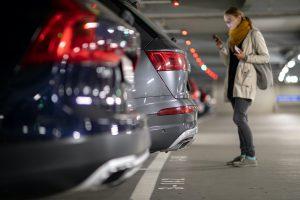 woman in parking garage alone